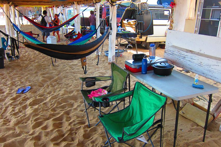 Our hammock village built beneath the cabanas.